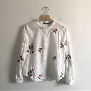 Boohoo Floral Embroider Ruffle Button up Blouse